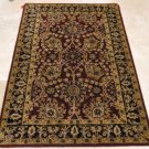 4x6 WOOL AREA RUG PERSIAN BLACK GOLD RED HAND MADE TUFTED COTTON BACKING