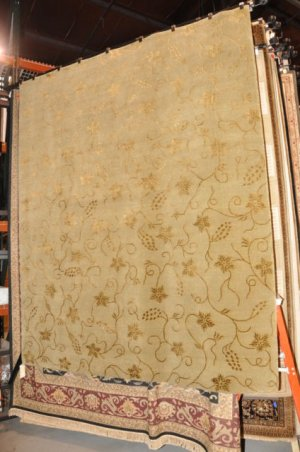 8x10 INDO NEPAL NEW ZEALAND WOOL AREA RUG HANDMADE GOLD TAN BEIGE 100 KPSI