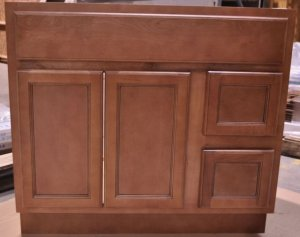 """36 Inch Flat Panel Ginger Bathroom Vanity Right Drawers Contemporary Cabinet 36"""""""