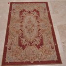 3x5 HANDMADE WOOL AREA RUG FRENCH AUBUSSON RUST GOLD BEIGE NEEDLE POINT