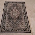3x5 WOOL & SILK HANDMADE AREA RUG FINE CHINESE RARE IVORY BLACK FLORAL