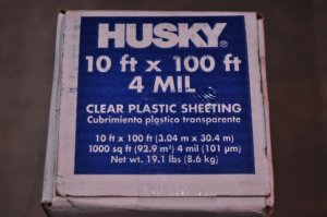 10' x 100' 4 mil Clear Husky Plastic Sheeting Poly Visqueen Painters Dropcloth