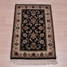 2x3 KASHAN RUG HANDMADE WOOL BLACK IVORY GOLD RED BLUE DOOR MAT NEW 10/10