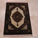 2x3 RUG KNOTTED WOOL PERSIAN IVORY WHITE RED GOLD GREEN BLACK KIRMAN HANDMADE