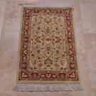 2x3 FINE PAK PERSIAN HANDMADE RUG KNOTTED IVORY BEIGE RUST GREEN 16/16