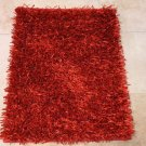 NEW 2x3 HANDMADE WOOL AREA RUG SHAG SHAGGY FLAT CHIPS RED WOOL & SILK