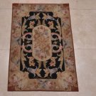 2x3 HANDMADE WOOL AREA RUG BLACK GOLD BLUE ROSE FRENCH AUBUSSON SAVONNERIE