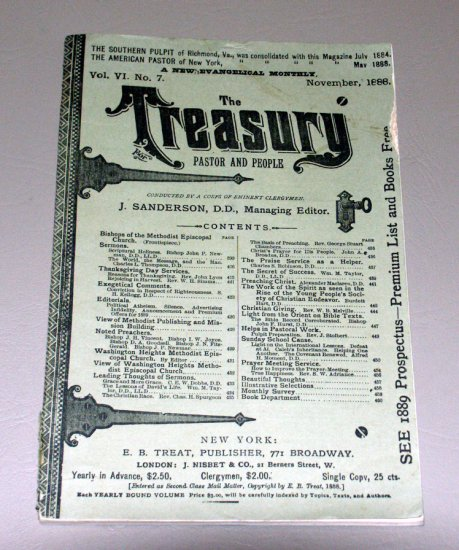 The Treasury - Pastor and People - Volume VI - No. 7 - November, 1888 - A New Evangelical Monthly