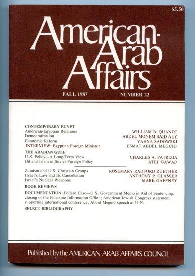 American Arab Affairs Journal - Fall 1987, Number 22 - Volume - Zionism - Persian Gulf