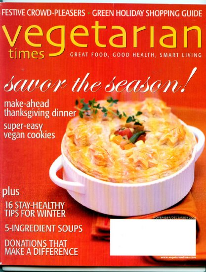 Vegetarian Times Magazine - December 2006 - Super Easy Vegan Cookies, Green Shopping Guide