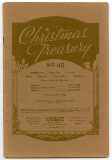 Christmas Treasury No. 45 (1934 Lorenz Publishing) Recitations, Exercises, Drills, Dialogs...
