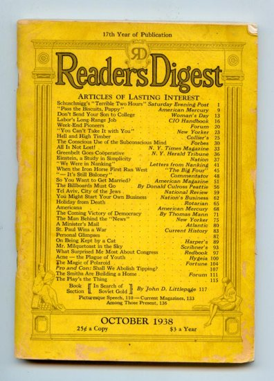 Reader's Digest Magazine October 1938 Vol. 3 No. 198 - Americana, Einstein, The Magic of Polaroid
