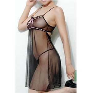 HOT SEXY SEE THRU LINGERIE LINGERE BLACK MAGIC BABYDOLL MESH SATIN ASIAN CHEMISE