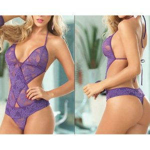 *NIP New Purple Sexy Lingerie Teddies Teddy BodySuit Erotic Intimate Apparel #M
