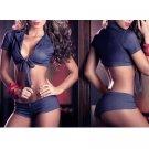 Sexy Dark Blue Bikini Style Lingerie Bra and Panties Panty Set Hot Size Medium