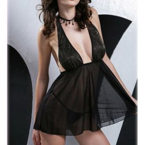 SEXY LINGERIE LINGERE GOLD THREAD TOP EXOTIC SEE THRU BLACK BABYDOLL ROBES ADULT