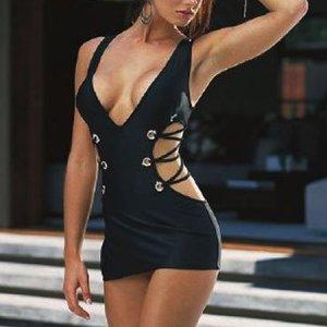 Black Spandex Intimates Apparel Underwear Sexy Babydoll Lingerie Dress Thong M