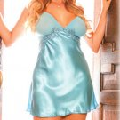 Sexy Aquamarine Light Blue Mesh Cups Babydoll Charmeuse Chemise XL XXL XXXL 3XL
