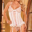 Sexy Lingerie Lace Up Underwire Bustier Hook & Eye Teddy + Garter + G-String