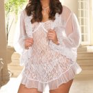 Sexy Lingerie Plus Size White Lace Underwire Cups Babydoll Sheer Panty XL 2XL 3X