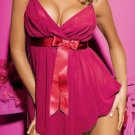 SEXY LINGERIE RED PINK HOT  BABYDOLL W/ RIBBON CHEMISE DRESS FOR WOMEN LINGERIA