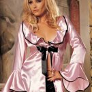 SEXY LINGERIE PINK OR WIHTE WOMEN BATH CLOTH LONG SLEEVE DRESS ROBE NIGHTGOWN