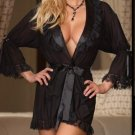 1 SIZE SEXY LINGERIE BLACK BATHROBE GOWN BABYDOLL SLEEPWEAR PEIGNOIR NIGHTGOWN