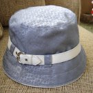 100% AUTHENTIC COACH HAT SOHO Mini Signature Crusher-BLUE with WHITE Leather TRIM-BRAND NEW W/ TAG!