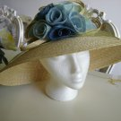 ROMANTIC AUGUST STRAW GARDEN PARTY HAT with PRETTY BLUE STRAW FLOWER CORSAGE!