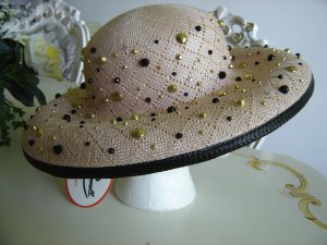 Jack McConnell GORGEOUS STRAW HAT with STUDS & STONES - BRAND NEW with TAG!