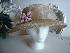 LARISA DESIGN STUDIO NEW YORK ROMANTIC STRAW HAT with MINI PINK ROSES - DELICATE & DELIGHTFUL!