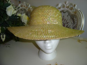 YELLOW SEQUIN STRAW HAT - FLASHY and CAPTIVATING!