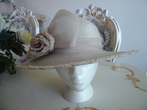 SYLVIA STRAW HAT with IVORY & GOLD BROCADE TRIM and TULLE BOW - MAJESTIC!