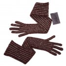 PRADA ITALY Long GLITTER Metallic BURGUNDY Wool Blend WINTER GLOVES Bordeaux L