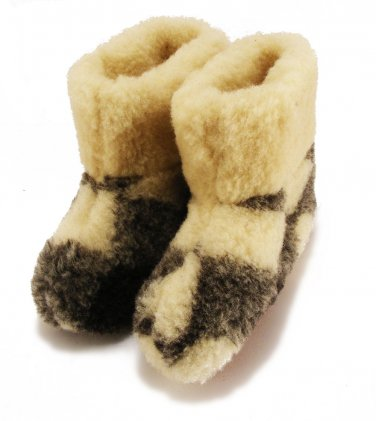MEN'S SHEEPSKIN VERITABLE SLIPPERS FELT BOOTS WOOL 11 US / 10 UK / 44.5 EU