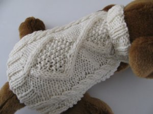 Diamond Back Aran dog sweater knitting pattern PDF