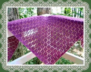 Easy to knit garter stitch diamond lace shawl pattern PDF