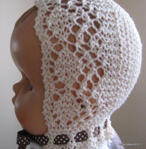 Garter Stitch Baby Knitting Patterns : Garter stitch diamond lace baby bonnet pdf knitting