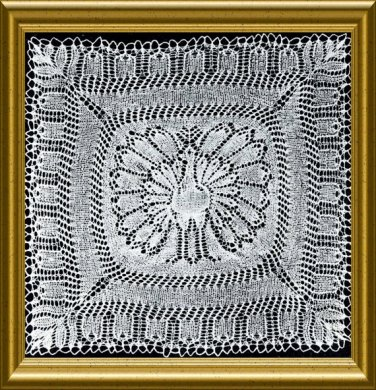 Vintage Peacock Doily Knitted Lace PDF knitting pattern from 1954