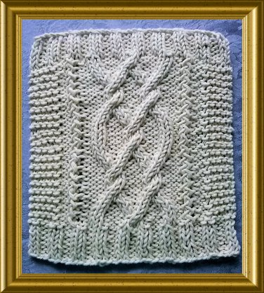 Aran style dish cloth knitting pattern -  Pretzel Twist design