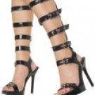 00501F-89-6: Vogue- Open Toe Shoes with Buckled Calf Straps. Size- 6