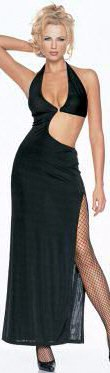 0415L-8895: Long Slinky Halter Dress with Clear Straps