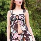 80164-L: 2 Pc. Floral Print Babydoll with Matching G-string. Large