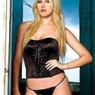 80117: Black Corset and Matching G-string. Black