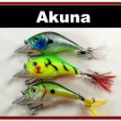 """[BP 3 FLA 131 A]Lot of 3 2.9"""""""" Bass Pike Trout Fishing Lure Bait Bait A"""