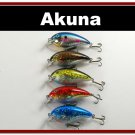 "[BP 5 FLA 56]Lot of 5 3.1"""" Bass Pike Trout FAT Fishing Lure Tackle"