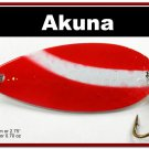"""[SP  68-20]2.4"""""""" White Stripe Bass Pike Hammered Spoon Fishing Lure"""