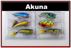 """[BP 6PK 3FLA48A and 3FLA48D]6 Holographic 2.4""""""""  Bass Topwater Fishing Lure Popper D"""