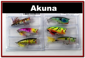 """[BP 6PK 3FLA48A and 3FLA48C]6 Pack 2.4""""""""  Bass Topwater Fishing Lure Popper Tackle C"""