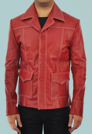 Tyler Durden Brad Pitt Fight Club Red Stylish Faux Leather Coat -  All Sizes